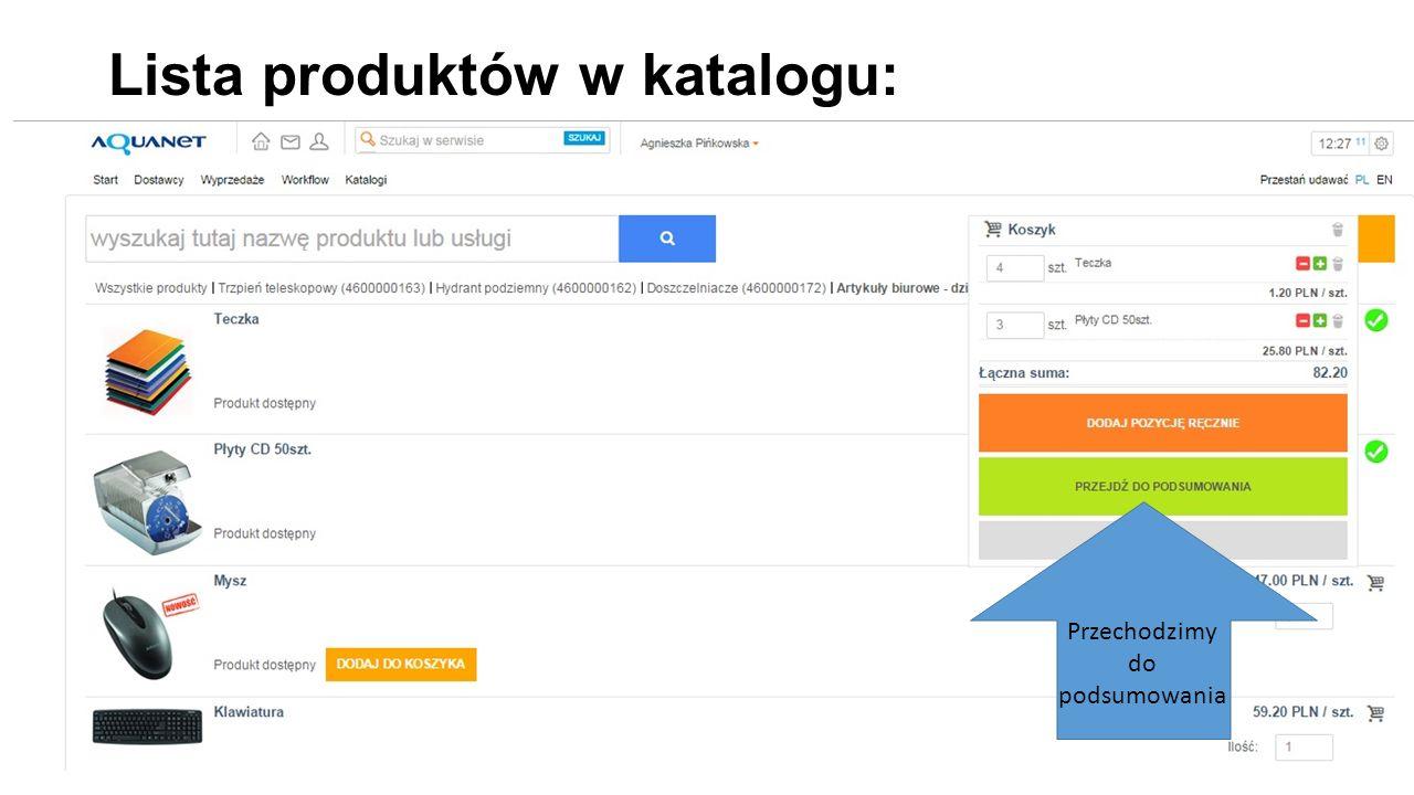 Lista produktów w katalogu: Przechodzimy do podsumowania