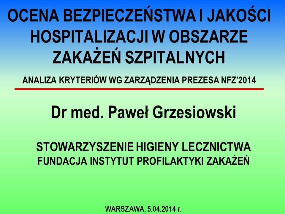 OCENA BEZPIECZEŃSTWA I JAKOŚCI HOSPITALIZACJI W OBSZARZE ZAKAŻEŃ SZPITALNYCH ANALIZA KRYTERIÓW WG ZARZĄDZENIA PREZESA NFZ'2014 Dr med. Paweł Grzesiows