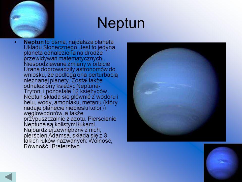 Uran Uran to siódma planeta układu słonecznego. Należy do grupy gazowych olbrzymów. Posiada 27 odkrytych księżyców. Uran zawiera stosunkowo mało wodor