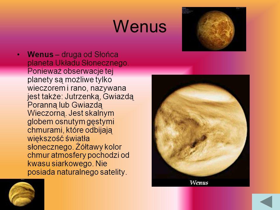 Merkury Merkury to najmniejsza i najbliższa Słońcu planeta Układu Słonecznego. Na nim znajdują się liczne kratery uderzeniowe i praktycznie pozbawiony