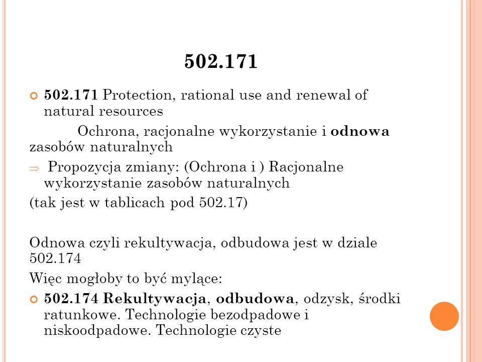 502.171 502.171 Protection, rational use and renewal of natural resources Ochrona, racjonalne wykorzystanie i odnowa zasobów naturalnych  Propozycja zmiany: (Ochrona i ) Racjonalne wykorzystanie zasobów naturalnych (tak jest w tablicach pod 502.17) Odnowa czyli rekultywacja, odbudowa jest w dziale 502.174 Więc mogłoby to być mylące: 502.174 Rekultywacja, odbudowa, odzysk, środki ratunkowe.