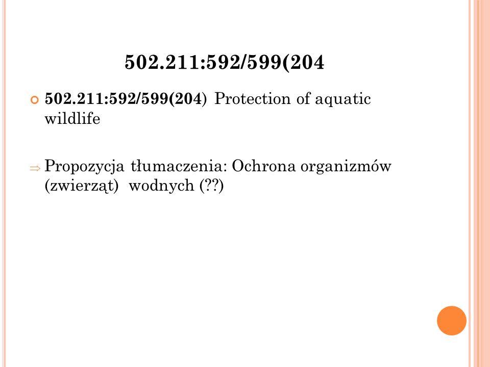 502.211:592/599(204 502.211:592/599(204 ) Protection of aquatic wildlife  Propozycja tłumaczenia: Ochrona organizmów (zwierząt) wodnych ( )