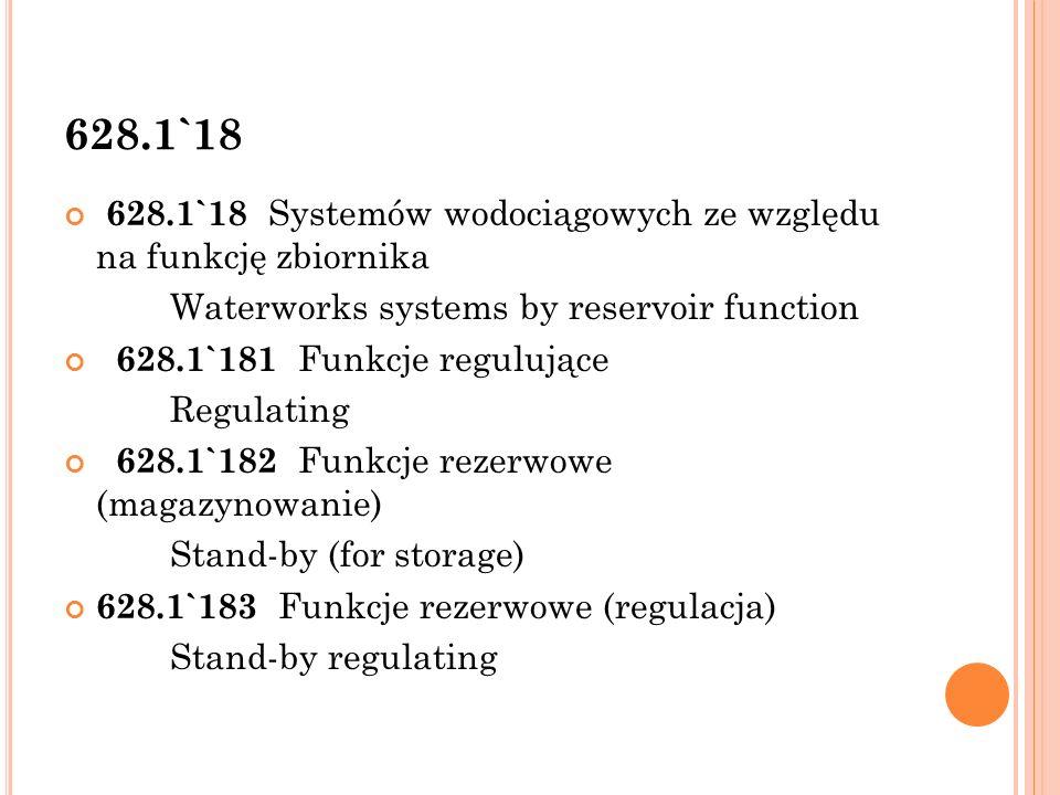 628.147.1 628.147.1 Budowa wodociągów Construction  Uwaga: Rozbudowa przez zestawienie za pomocą dwukropka z symbolami z działu