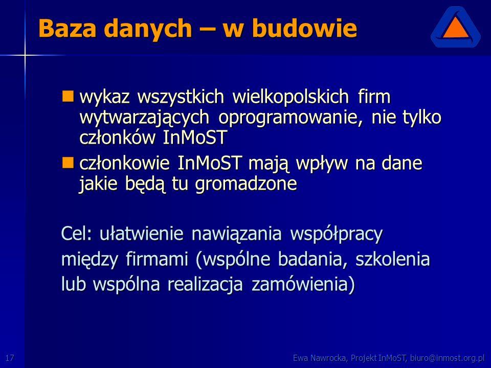 Ewa Nawrocka, Projekt InMoST, biuro@inmost.org.pl17 Baza danych – w budowie wykaz wszystkich wielkopolskich firm wytwarzających oprogramowanie, nie ty