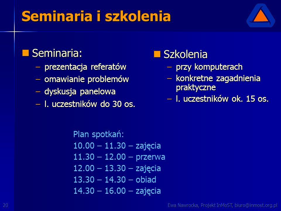 Ewa Nawrocka, Projekt InMoST, biuro@inmost.org.pl20 Seminaria i szkolenia Seminaria: Seminaria: –prezentacja referatów –omawianie problemów –dyskusja panelowa –l.