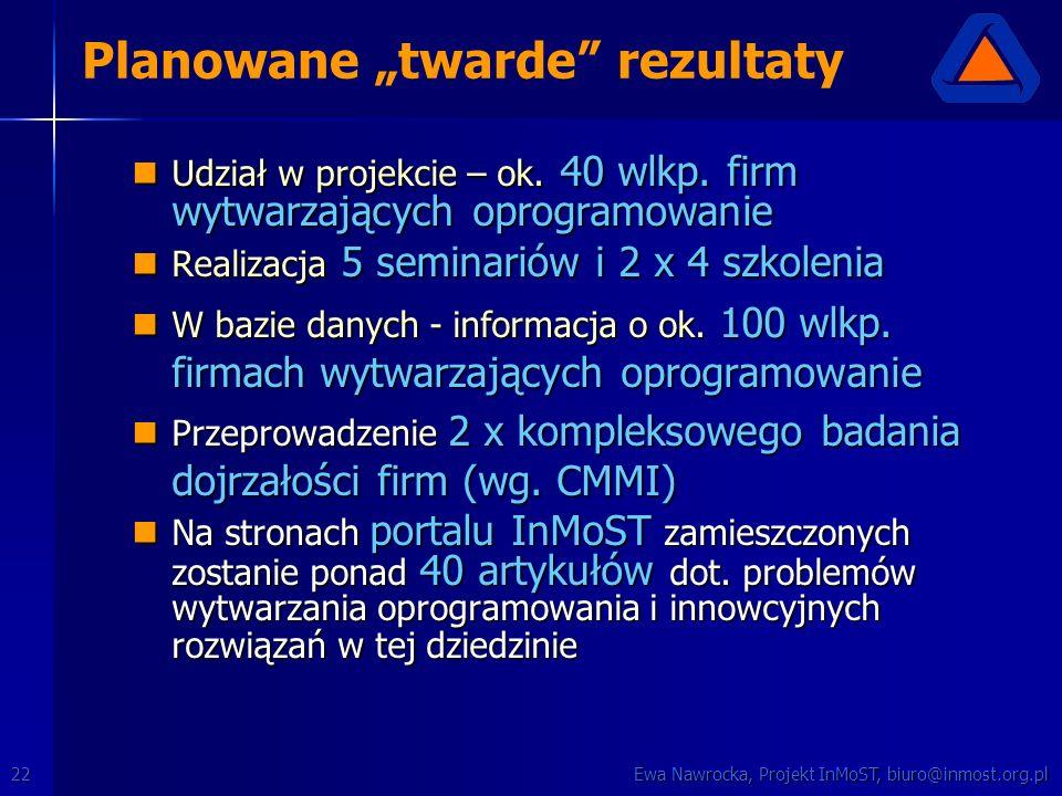 """Ewa Nawrocka, Projekt InMoST, biuro@inmost.org.pl22 Planowane """"twarde"""" rezultaty Udział w projekcie – ok. 40 wlkp. firm wytwarzających oprogramowanie"""