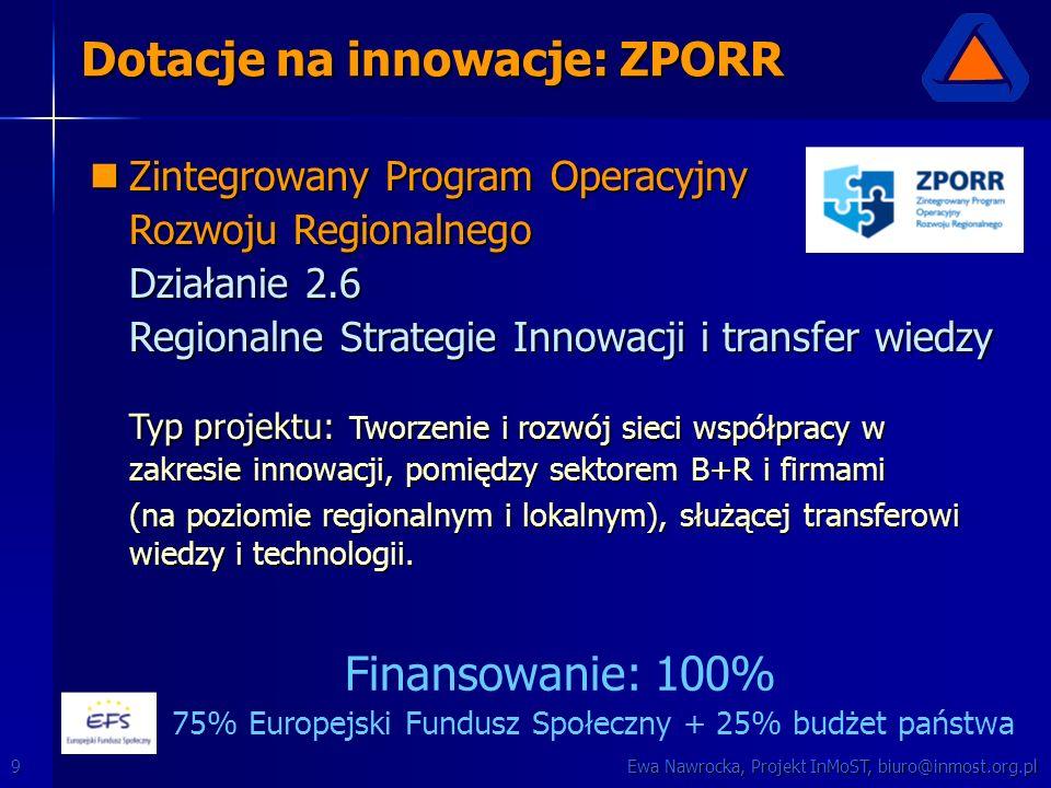 Ewa Nawrocka, Projekt InMoST, biuro@inmost.org.pl9 Dotacje na innowacje: ZPORR Zintegrowany Program Operacyjny Zintegrowany Program Operacyjny Rozwoju