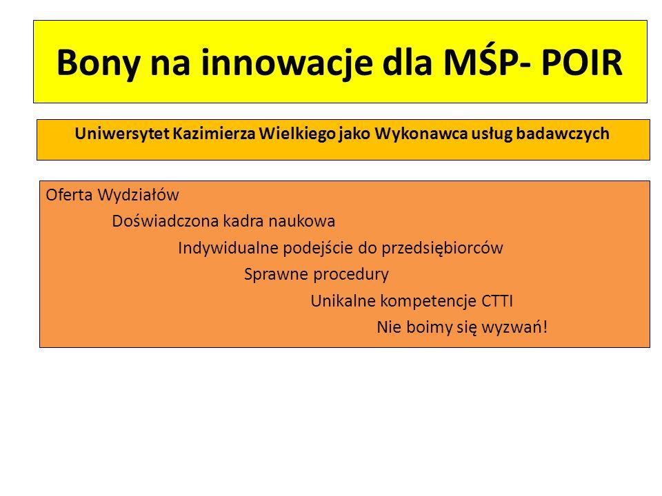 Bony na innowacje dla MŚP- POIR Uniwersytet Kazimierza Wielkiego jako Wykonawca usług badawczych Oferta Wydziałów Doświadczona kadra naukowa Indywidua