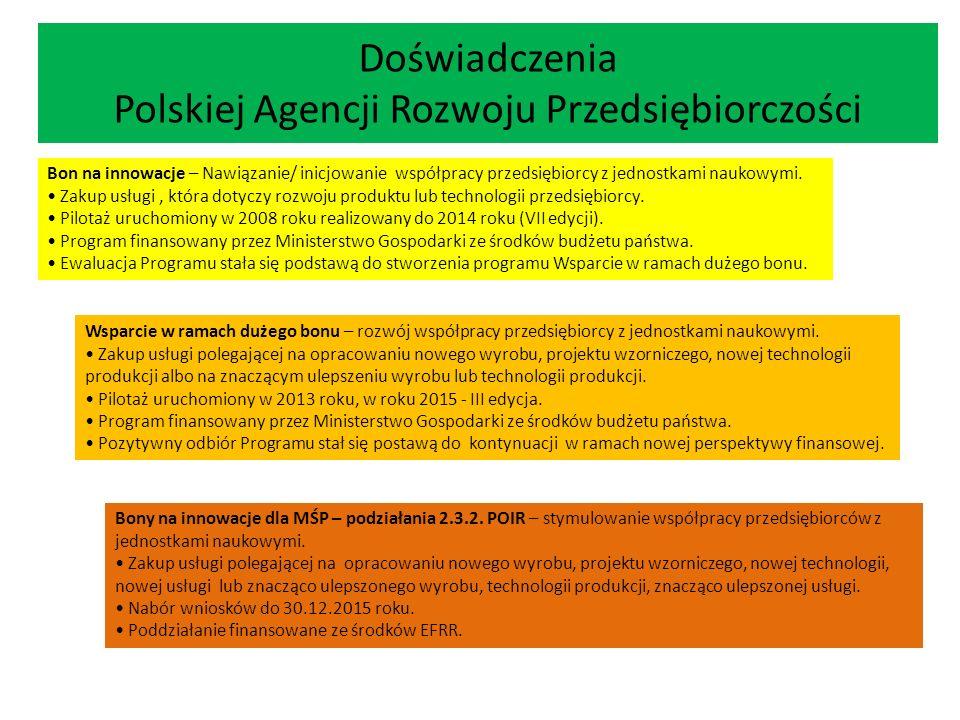Doświadczenia Polskiej Agencji Rozwoju Przedsiębiorczości Bon na innowacje – Nawiązanie/ inicjowanie współpracy przedsiębiorcy z jednostkami naukowymi