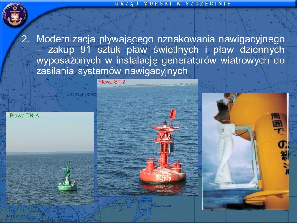 2.Modernizacja pływającego oznakowania nawigacyjnego – zakup 91 sztuk pław świetlnych i pław dziennych wyposażonych w instalację generatorów wiatrowych do zasilania systemów nawigacyjnych