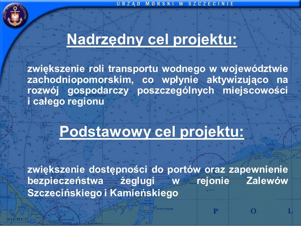 Nadrzędny cel projektu: zwiększenie roli transportu wodnego w województwie zachodniopomorskim, co wpłynie aktywizująco na rozwój gospodarczy poszczegó
