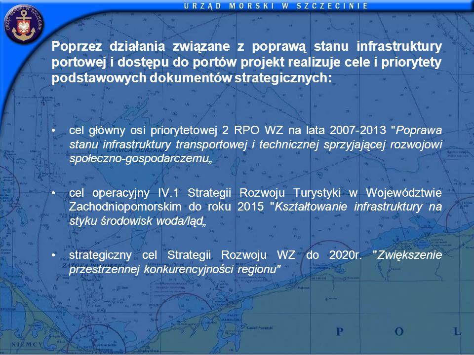 Poprzez działania związane z poprawą stanu infrastruktury portowej i dostępu do portów projekt realizuje cele i priorytety podstawowych dokumentów str