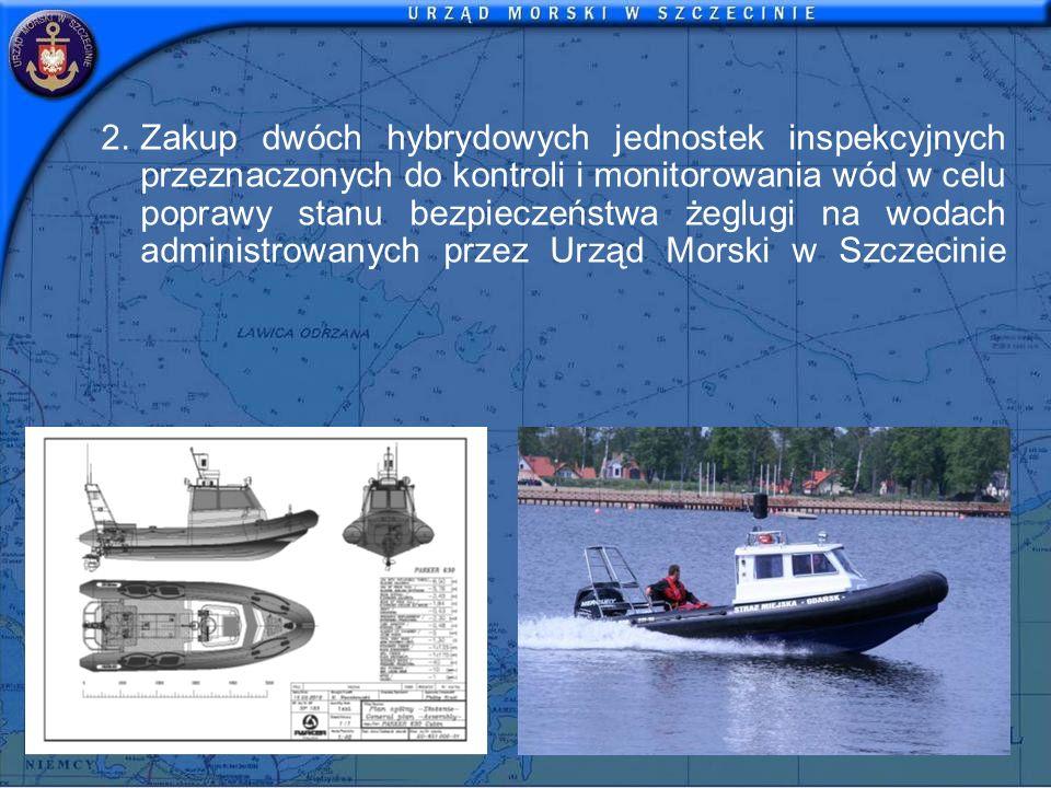 2.Zakup dwóch hybrydowych jednostek inspekcyjnych przeznaczonych do kontroli i monitorowania wód w celu poprawy stanu bezpieczeństwa żeglugi na wodach administrowanych przez Urząd Morski w Szczecinie