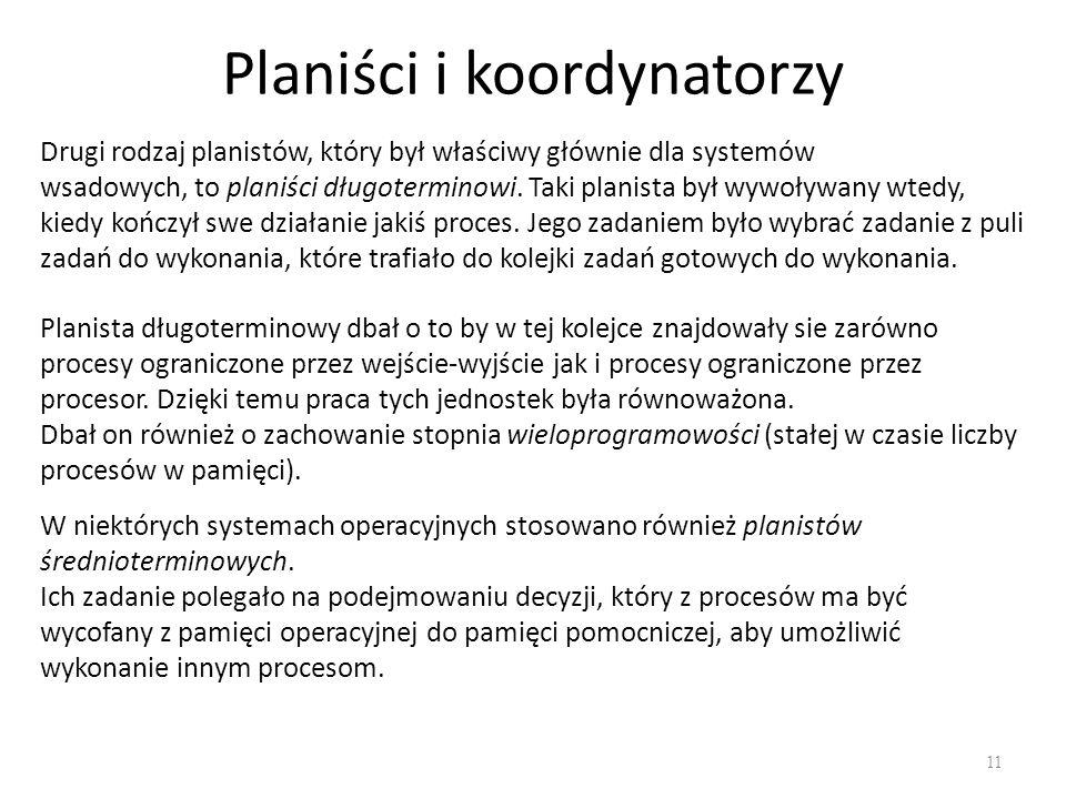 Planiści i koordynatorzy 11 Drugi rodzaj planistów, który był właściwy głównie dla systemów wsadowych, to planiści długoterminowi.