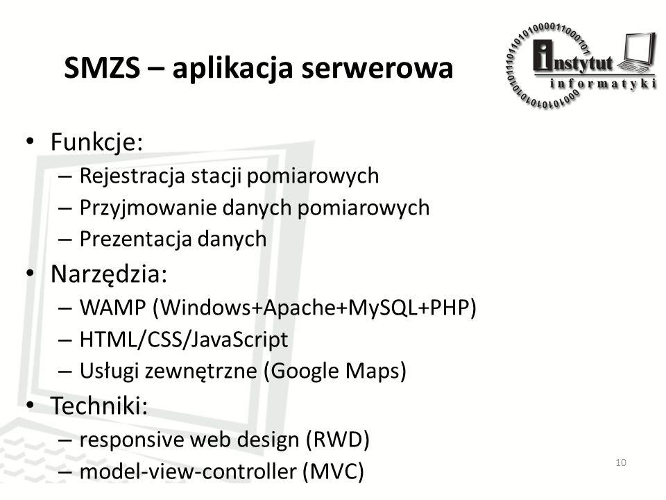 SMZS – aplikacja serwerowa Funkcje: – Rejestracja stacji pomiarowych – Przyjmowanie danych pomiarowych – Prezentacja danych Narzędzia: – WAMP (Windows