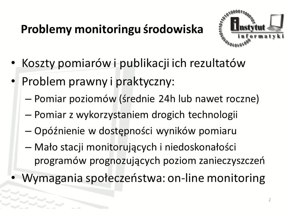 Problemy monitoringu środowiska Koszty pomiarów i publikacji ich rezultatów Problem prawny i praktyczny: – Pomiar poziomów (średnie 24h lub nawet roczne) – Pomiar z wykorzystaniem drogich technologii – Opóźnienie w dostępności wyników pomiaru – Mało stacji monitorujących i niedoskonałości programów prognozujących poziom zanieczyszczeń Wymagania społeczeństwa: on-line monitoring 2