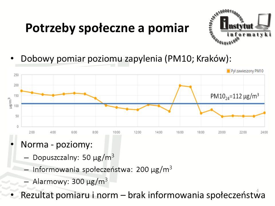 Potrzeby społeczne a pomiar Dobowy pomiar poziomu zapylenia (PM10; Kraków): Norma - poziomy: – Dopuszczalny: 50 μg/m 3 – Informowania społeczeństwa: 200 μg/m 3 – Alarmowy: 300 μg/m 3 Rezultat pomiaru i norm – brak informowania społeczeństwa 4
