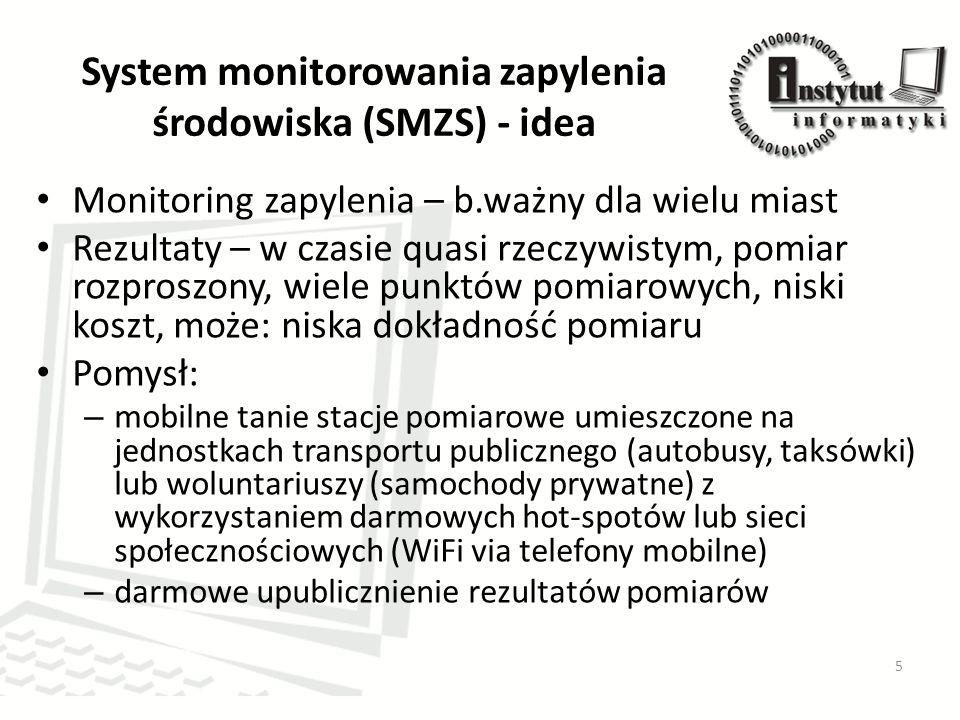 System monitorowania zapylenia środowiska (SMZS) - idea Monitoring zapylenia – b.ważny dla wielu miast Rezultaty – w czasie quasi rzeczywistym, pomiar rozproszony, wiele punktów pomiarowych, niski koszt, może: niska dokładność pomiaru Pomysł: – mobilne tanie stacje pomiarowe umieszczone na jednostkach transportu publicznego (autobusy, taksówki) lub woluntariuszy (samochody prywatne) z wykorzystaniem darmowych hot-spotów lub sieci społecznościowych (WiFi via telefony mobilne) – darmowe upublicznienie rezultatów pomiarów 5
