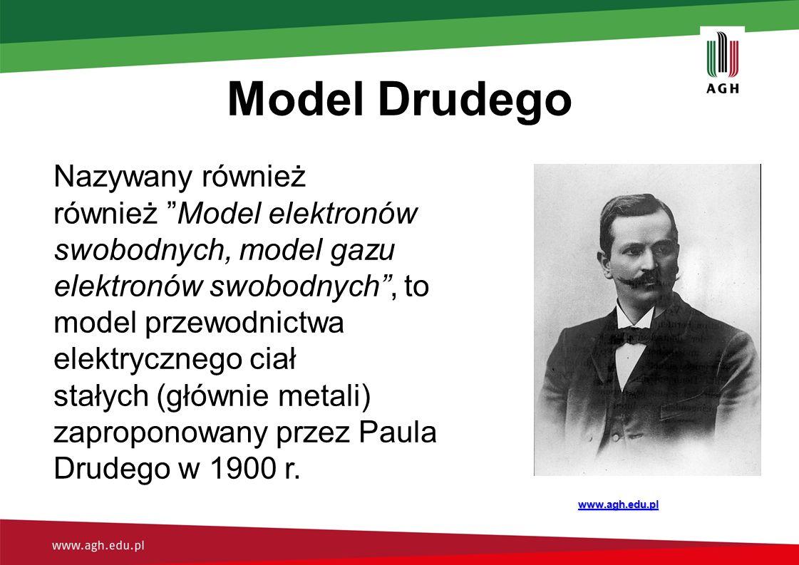 """Model Drudego Nazywany również również """"Model elektronów swobodnych, model gazu elektronów swobodnych"""", to model przewodnictwa elektrycznego ciał stał"""