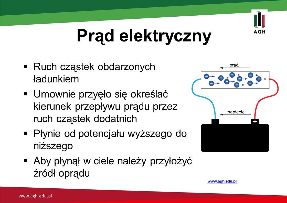 Prąd elektryczny  Ruch cząstek obdarzonych ładunkiem  Umownie przyęło się określać kierunek przepływu prądu przez ruch cząstek dodatnich  Płynie od potencjału wyższego do niższego  Aby płynął w ciele należy przyłożyć źródł oprądu www.agh.edu.pl
