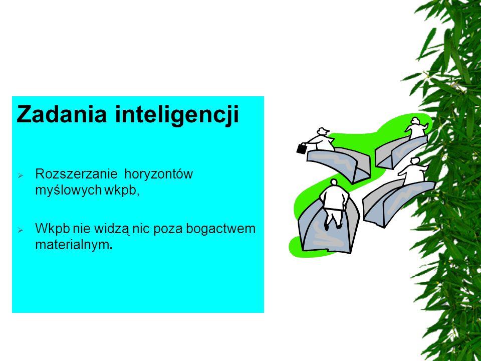 Zadania inteligencji  Rozszerzanie horyzontów myślowych wkpb,  Wkpb nie widzą nic poza bogactwem materialnym.