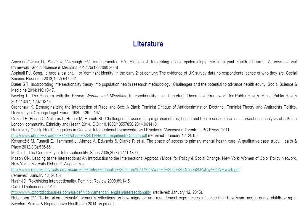 Literatura Acevedo-Garcia D, Sanchez Vaznaugh EV, Viruell-Fuentes EA, Almeida J.