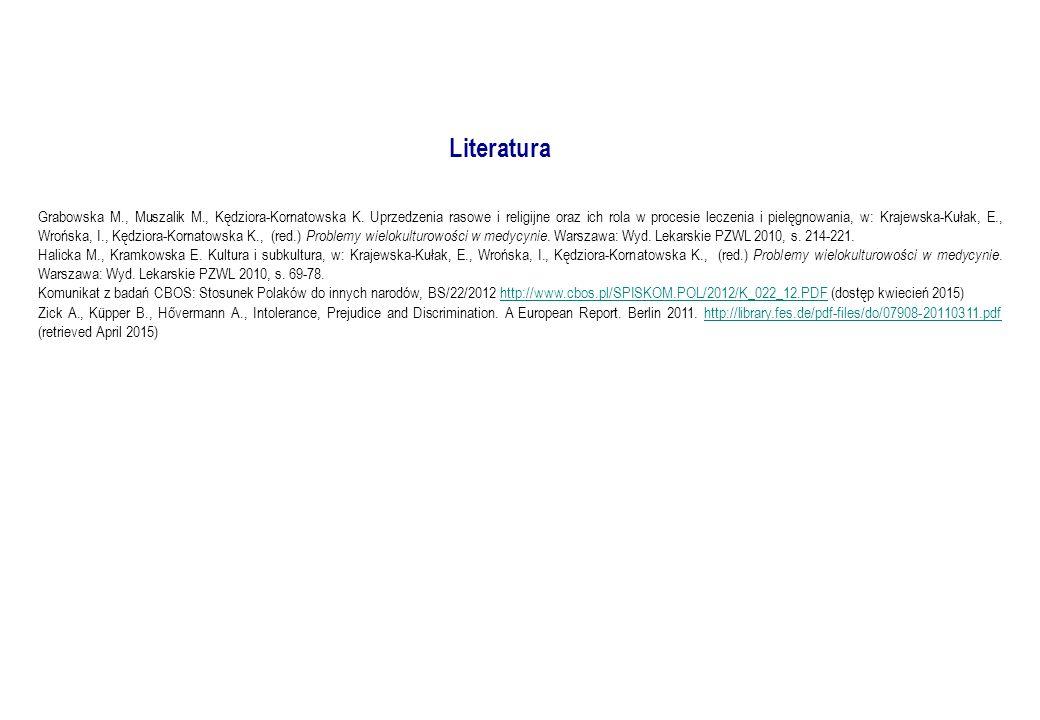Literatura Grabowska M., Muszalik M., Kędziora-Kornatowska K.