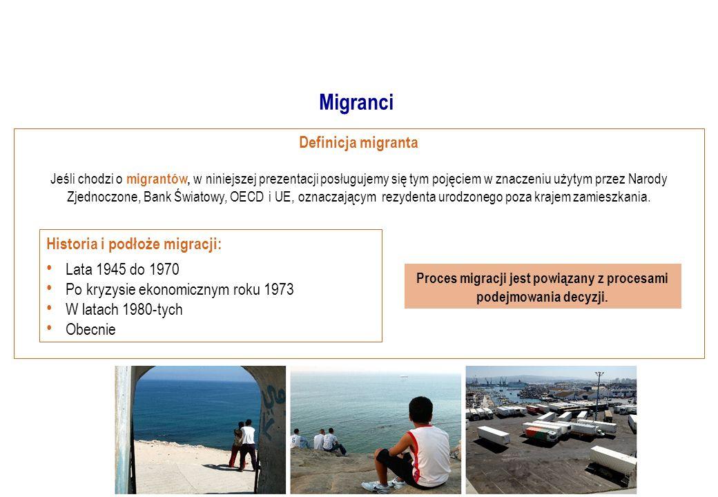 Definicja migranta Jeśli chodzi o migrantów, w niniejszej prezentacji posługujemy się tym pojęciem w znaczeniu użytym przez Narody Zjednoczone, Bank Światowy, OECD i UE, oznaczającym rezydenta urodzonego poza krajem zamieszkania.