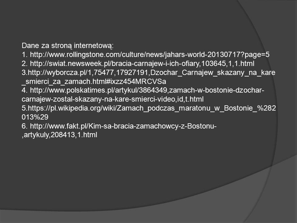 Dane za stroną internetową: 1.