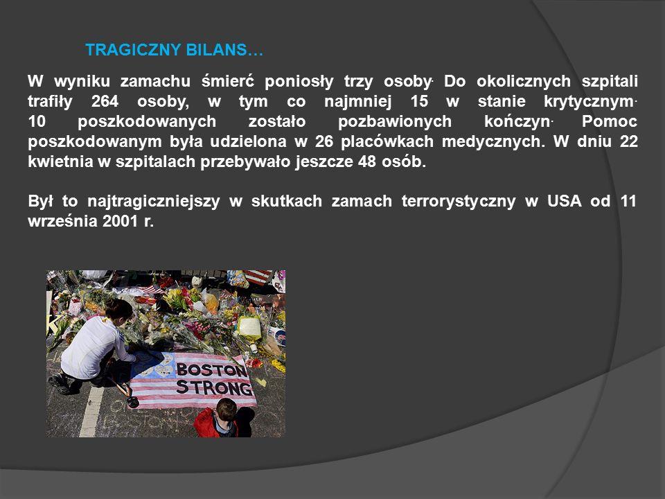 W wyniku zamachu śmierć poniosły trzy osoby.