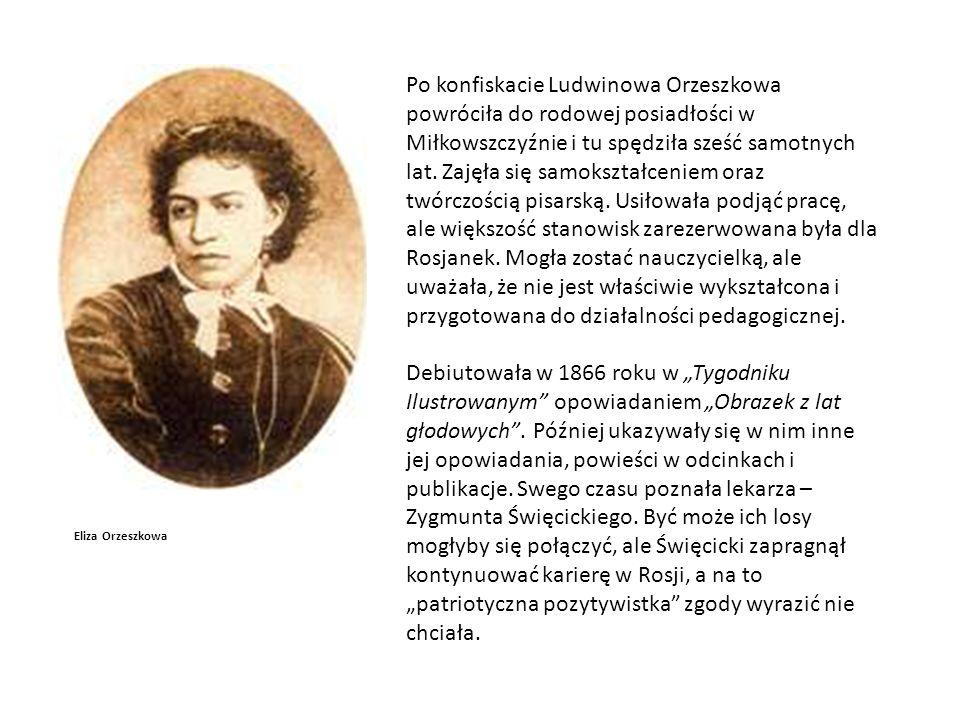 Eliza Orzeszkowa Po konfiskacie Ludwinowa Orzeszkowa powróciła do rodowej posiadłości w Miłkowszczyźnie i tu spędziła sześć samotnych lat.