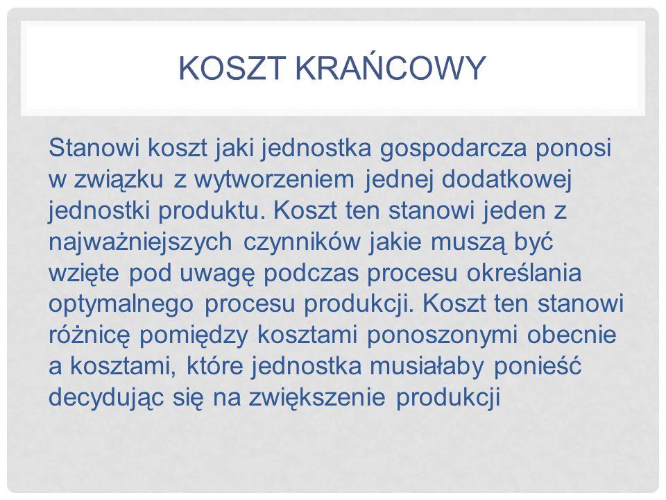 KOSZT KRAŃCOWY Stanowi koszt jaki jednostka gospodarcza ponosi w związku z wytworzeniem jednej dodatkowej jednostki produktu. Koszt ten stanowi jeden