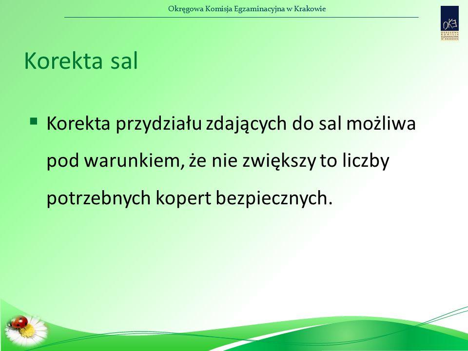 Okręgowa Komisja Egzaminacyjna w Krakowie Korekta sal  Korekta przydziału zdających do sal możliwa pod warunkiem, że nie zwiększy to liczby potrzebnych kopert bezpiecznych.