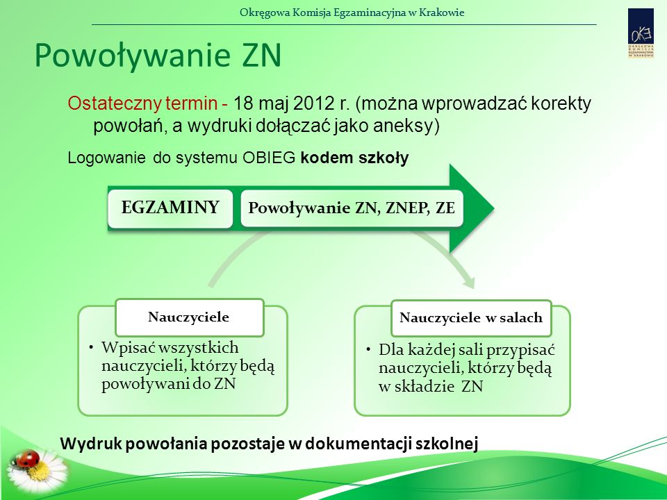 Okręgowa Komisja Egzaminacyjna w Krakowie Powoływanie ZN Ostateczny termin - 18 maj 2012 r. (można wprowadzać korekty powołań, a wydruki dołączać jako