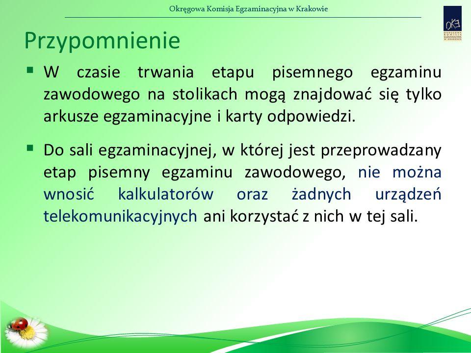 Okręgowa Komisja Egzaminacyjna w Krakowie Przypomnienie  W czasie trwania etapu pisemnego egzaminu zawodowego na stolikach mogą znajdować się tylko arkusze egzaminacyjne i karty odpowiedzi.