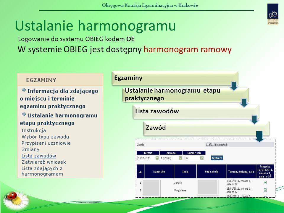 Okręgowa Komisja Egzaminacyjna w Krakowie Ustalanie harmonogramu Logowanie do systemu OBIEG kodem OE Egzaminy Ustalanie harmonogramu etapu praktyczneg