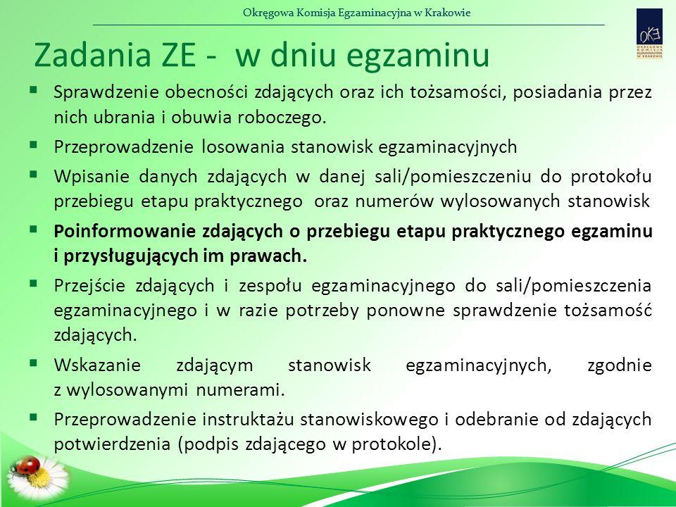 Okręgowa Komisja Egzaminacyjna w Krakowie Zadania ZE - w dniu egzaminu  Sprawdzenie obecności zdających oraz ich tożsamości, posiadania przez nich ubrania i obuwia roboczego.
