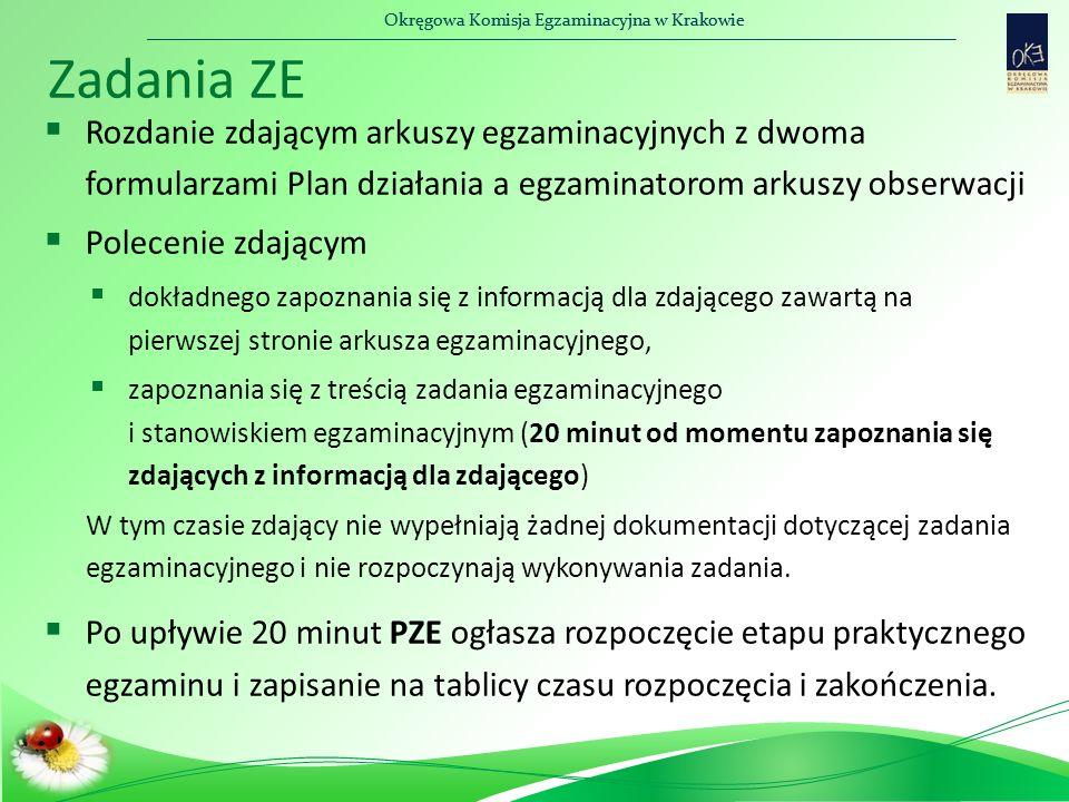 Okręgowa Komisja Egzaminacyjna w Krakowie Zadania ZE  Rozdanie zdającym arkuszy egzaminacyjnych z dwoma formularzami Plan działania a egzaminatorom arkuszy obserwacji  Polecenie zdającym  dokładnego zapoznania się z informacją dla zdającego zawartą na pierwszej stronie arkusza egzaminacyjnego,  zapoznania się z treścią zadania egzaminacyjnego i stanowiskiem egzaminacyjnym (20 minut od momentu zapoznania się zdających z informacją dla zdającego) W tym czasie zdający nie wypełniają żadnej dokumentacji dotyczącej zadania egzaminacyjnego i nie rozpoczynają wykonywania zadania.