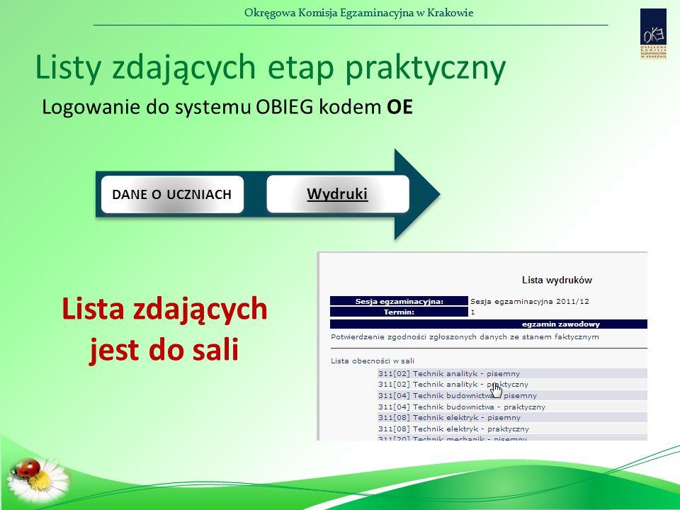 Okręgowa Komisja Egzaminacyjna w Krakowie Listy zdających etap praktyczny DANE O UCZNIACH Wydruki Logowanie do systemu OBIEG kodem OE Lista zdających