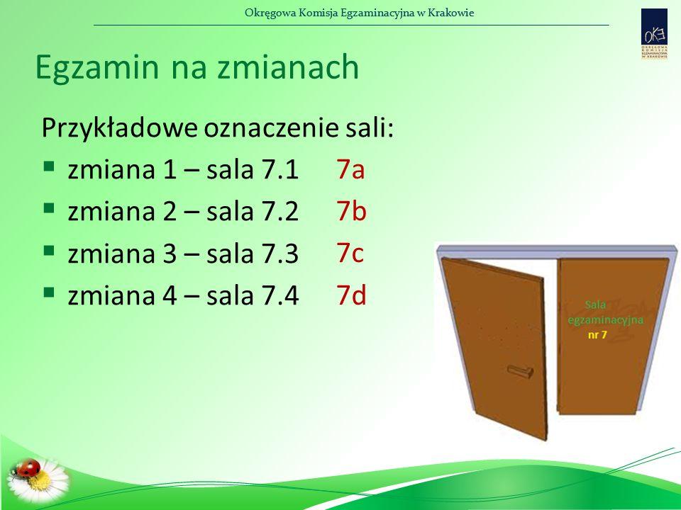 Okręgowa Komisja Egzaminacyjna w Krakowie Egzamin na zmianach Przykładowe oznaczenie sali:  zmiana 1 – sala 7.1  zmiana 2 – sala 7.2  zmiana 3 – sa