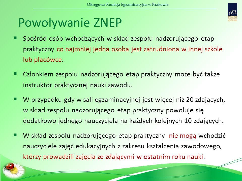 Okręgowa Komisja Egzaminacyjna w Krakowie Powoływanie ZNEP  Spośród osób wchodzących w skład zespołu nadzorującego etap praktyczny co najmniej jedna