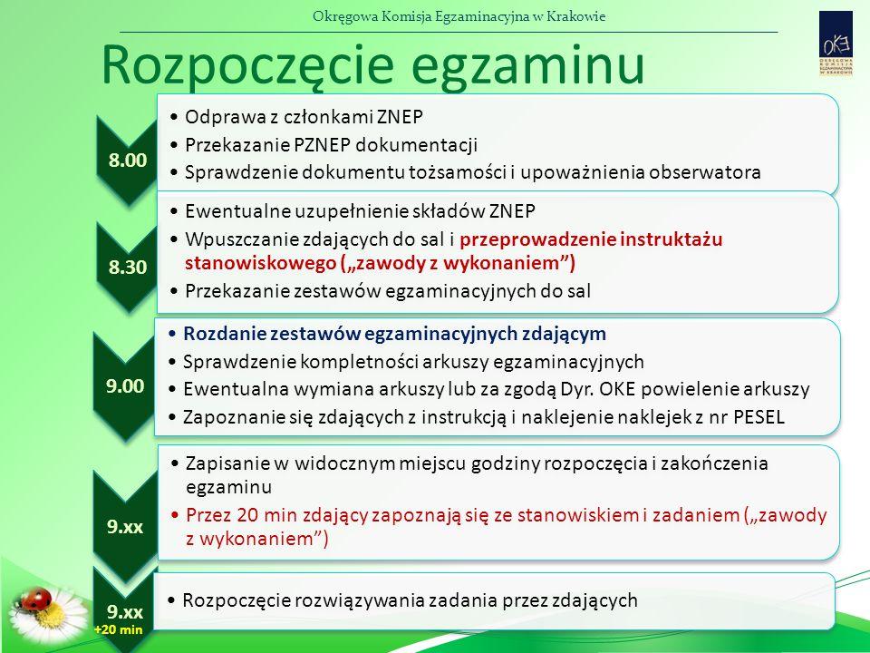 Okręgowa Komisja Egzaminacyjna w Krakowie Rozpoczęcie egzaminu 8.00 Odprawa z członkami ZNEP Przekazanie PZNEP dokumentacji Sprawdzenie dokumentu tożs