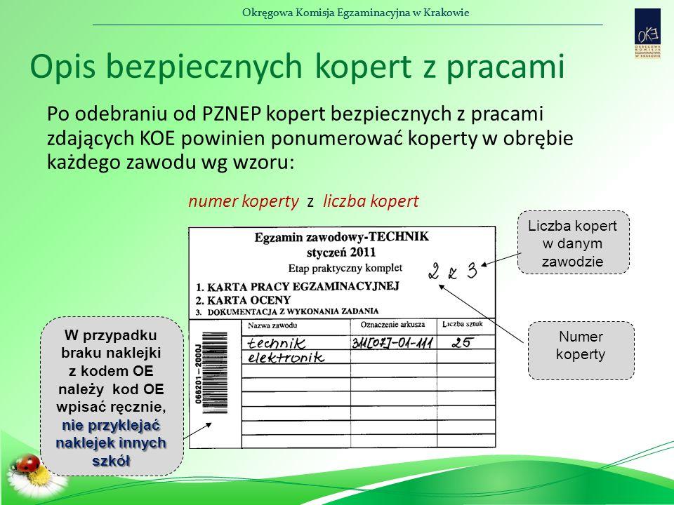 Okręgowa Komisja Egzaminacyjna w Krakowie Opis bezpiecznych kopert z pracami Po odebraniu od PZNEP kopert bezpiecznych z pracami zdających KOE powinien ponumerować koperty w obrębie każdego zawodu wg wzoru: numer koperty z liczba kopert W przypadku braku naklejki z kodem OE należy kod OE wpisać ręcznie, nie przyklejać naklejek innych szkół Numer koperty Liczba kopert w danym zawodzie