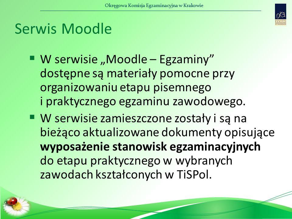 """Okręgowa Komisja Egzaminacyjna w Krakowie Serwis Moodle  W serwisie """"Moodle – Egzaminy"""" dostępne są materiały pomocne przy organizowaniu etapu pisemn"""
