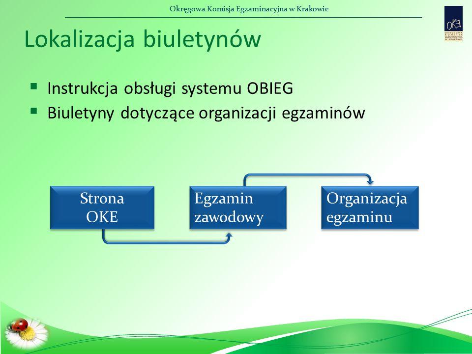 Okręgowa Komisja Egzaminacyjna w Krakowie Lokalizacja biuletynów  Instrukcja obsługi systemu OBIEG  Biuletyny dotyczące organizacji egzaminów Strona