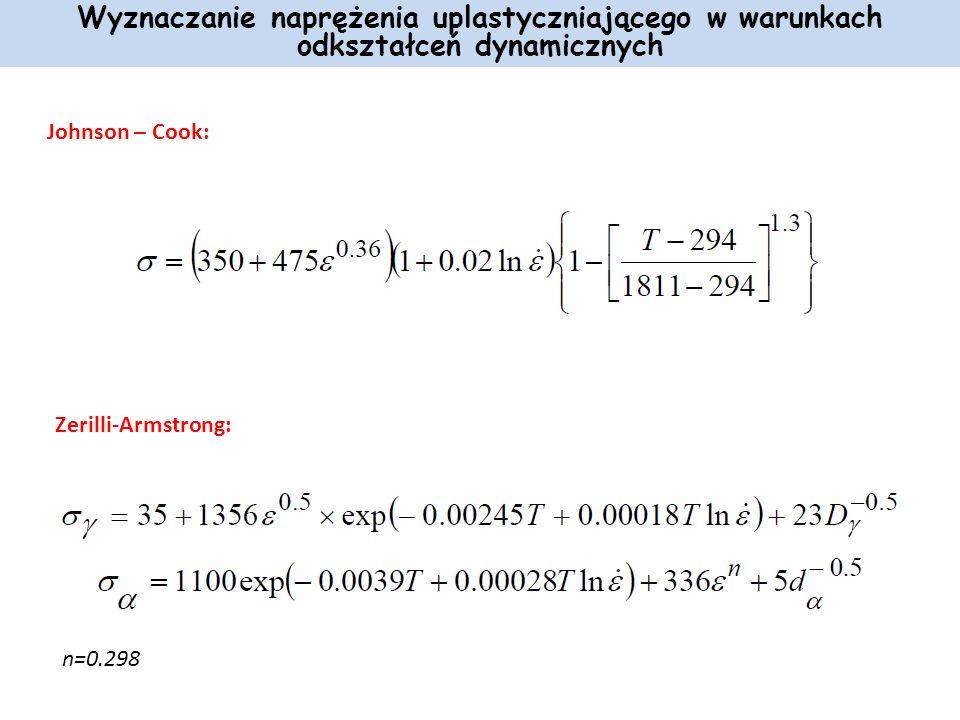 Johnson – Cook: Wyznaczanie naprężenia uplastyczniającego w warunkach odkształceń dynamicznych Zerilli-Armstrong: n=0.298
