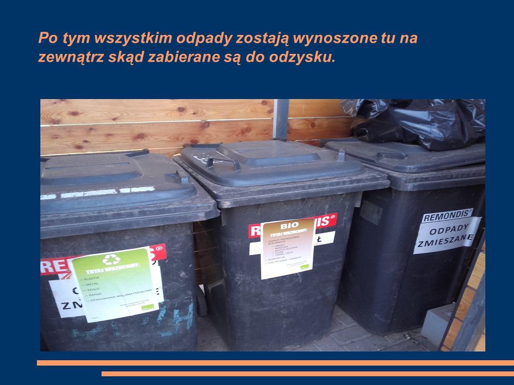 Po tym wszystkim odpady zostają wynoszone tu na zewnątrz skąd zabierane są do odzysku.