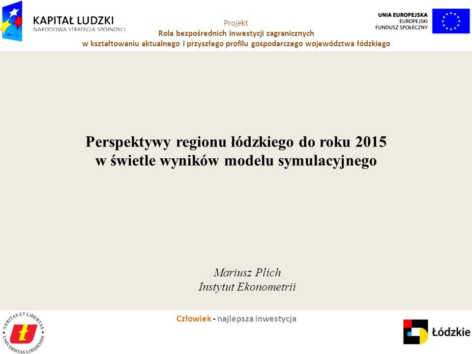 Człowiek - najlepsza inwestycja Projekt Rola bezpośrednich inwestycji zagranicznych w kształtowaniu aktualnego i przyszłego profilu gospodarczego województwa łódzkiego Mariusz Plich Instytut Ekonometrii Perspektywy regionu łódzkiego do roku 2015 w świetle wyników modelu symulacyjnego