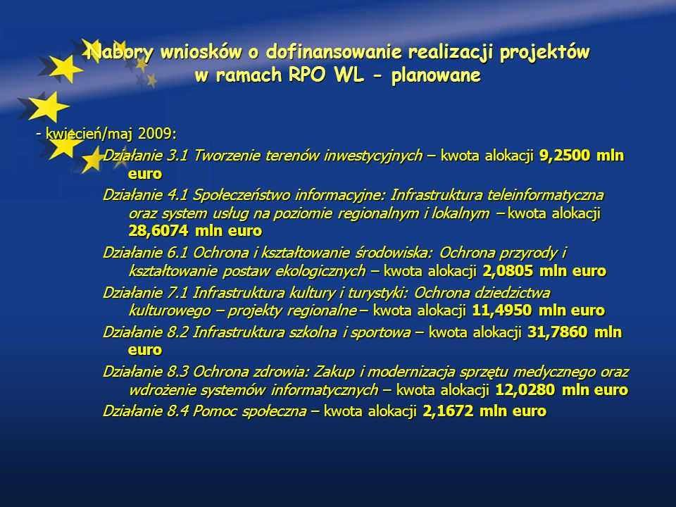 Nabory wniosków o dofinansowanie realizacji projektów w ramach RPO WL - planowane - kwiecień/maj 2009: Działanie 3.1 Tworzenie terenów inwestycyjnych – kwota alokacji 9,2500 mln euro Działanie 4.1 Społeczeństwo informacyjne: Infrastruktura teleinformatyczna oraz system usług na poziomie regionalnym i lokalnym – kwota alokacji 28,6074 mln euro Działanie 6.1 Ochrona i kształtowanie środowiska: Ochrona przyrody i kształtowanie postaw ekologicznych – kwota alokacji 2,0805 mln euro Działanie 7.1 Infrastruktura kultury i turystyki: Ochrona dziedzictwa kulturowego – projekty regionalne – kwota alokacji 11,4950 mln euro Działanie 8.2 Infrastruktura szkolna i sportowa – kwota alokacji 31,7860 mln euro Działanie 8.3 Ochrona zdrowia: Zakup i modernizacja sprzętu medycznego oraz wdrożenie systemów informatycznych – kwota alokacji 12,0280 mln euro Działanie 8.4 Pomoc społeczna – kwota alokacji 2,1672 mln euro