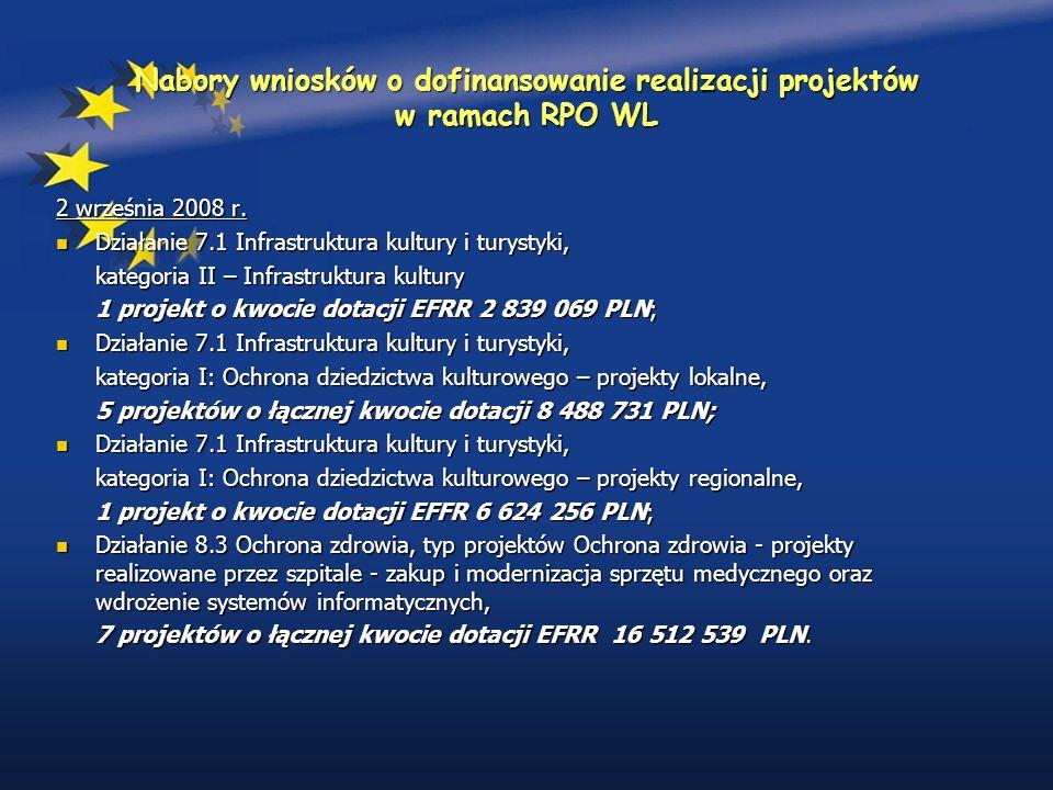 Nabory wniosków o dofinansowanie realizacji projektów w ramach RPO WL 2 września 2008 r.